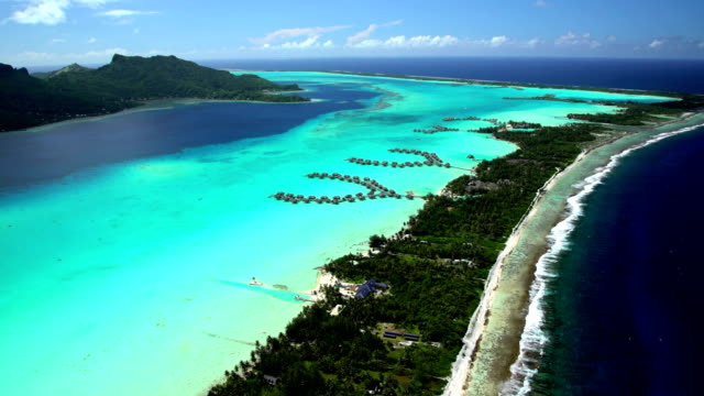 aerial view of bora bora island south pacific - bora bora stock videos & royalty-free footage