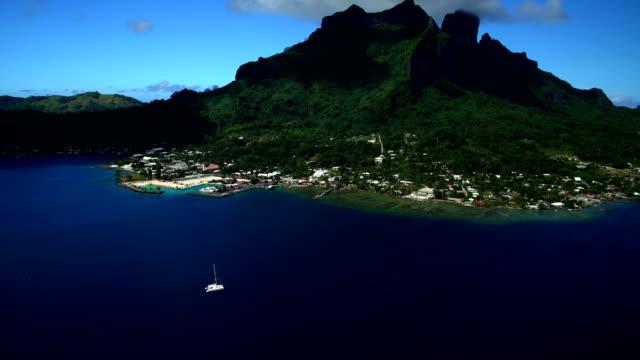 aerial view of bora bora island vacation resort - polynesian ethnicity stock videos & royalty-free footage