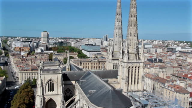 aerial view of bordeaux - france - cathedral stock videos & royalty-free footage