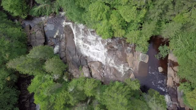 Aerial View of Boreal Nature Forest River and Waterfall in Summer