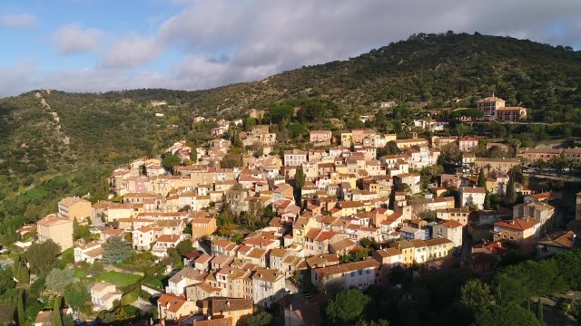 aerial view of bormes les mimosas - var stock videos & royalty-free footage