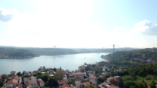 aerial view of bosphorus - july 15 martyrs' bridge stock videos & royalty-free footage