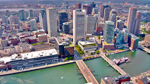 aerial view of boston business downtown. - boston massachusetts stock videos & royalty-free footage