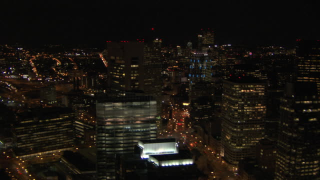 aerial view of boston cityscape at night, massachusetts, united states of america - custom house tower stock videos & royalty-free footage