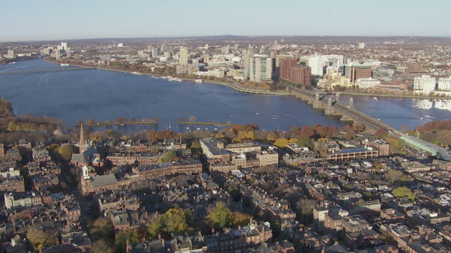"""aerial view of boston neighborhood with longfellow bridge over charles river in background, boston, massachusetts, united states of america"""" - river charles stock videos & royalty-free footage"""