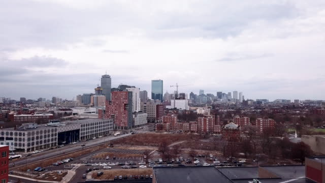 aerial view of boston on a cloudy afternoon - boston massachusetts stock videos & royalty-free footage