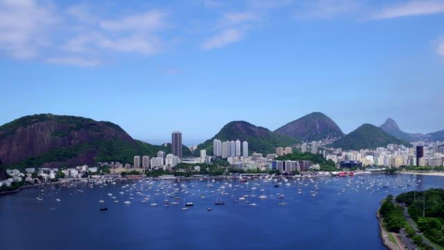 aerial view of botafogo bay at rio de janeiro, brazil - ankrad bildbanksvideor och videomaterial från bakom kulisserna
