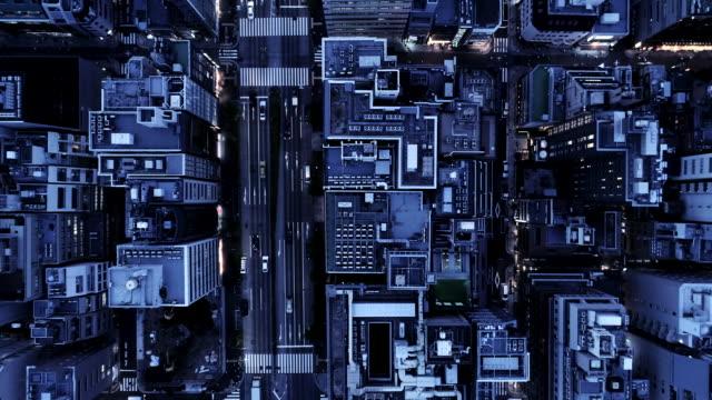aerial view of boulevard between office buildings - 通り点の映像素材/bロール