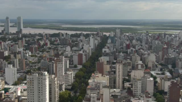 aerial view of boulveard oroño in rosario - argentina stock videos & royalty-free footage