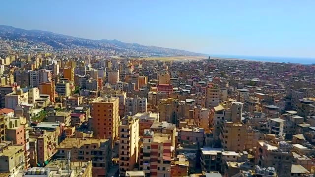 aerial view of bourj el-barajneh - southern beirut - minaret stock videos & royalty-free footage