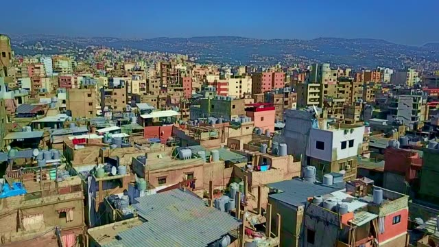 aerial view of bourj el-barajneh - southern beirut - shi'ite islam stock videos & royalty-free footage