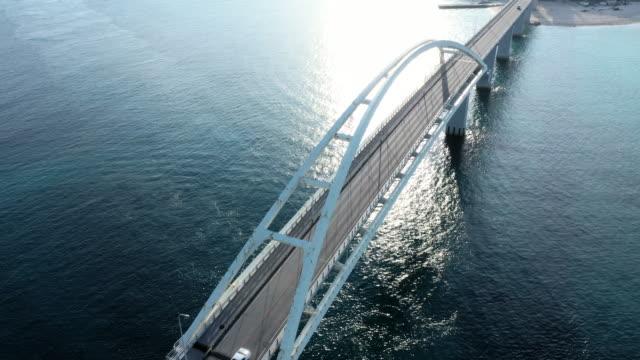 aerial view of bridge above the sea - ship's bridge stock videos & royalty-free footage