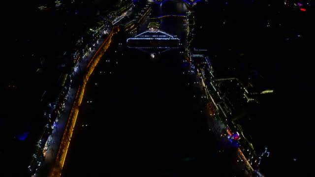 Aerial view of bridge and cityscape of Phoenix Ancient Town (famous travel destinations) at night
