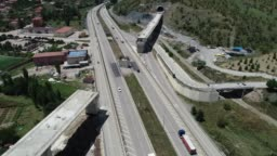 Aerial view of bridge and tunnel construction over the highway for high speed railroad - Infrastructure study for high speed rail between Sivas and Ankara province - TURKEY Ankara-Sivas/Turkey 06/20/2019