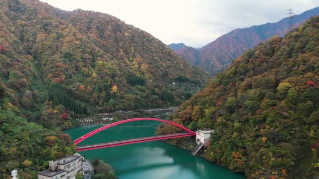 秋の季節に、黒部市、富山県の橋の空撮。 - 峡谷点の映像素材/bロール