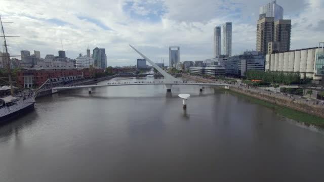 aerial view of bridge in buenos aires, argentina - puente de la mujer stock videos & royalty-free footage