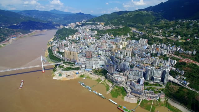 aerial view of bridge on yangtze river,badong,hubei,china. - hoisting stock videos & royalty-free footage
