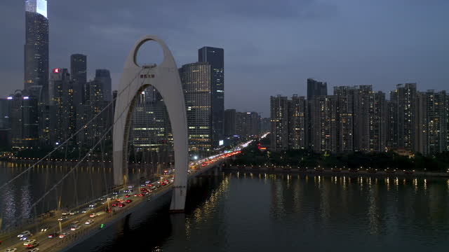 aerial view of bridge over  pearl river - liyao xie stock videos & royalty-free footage