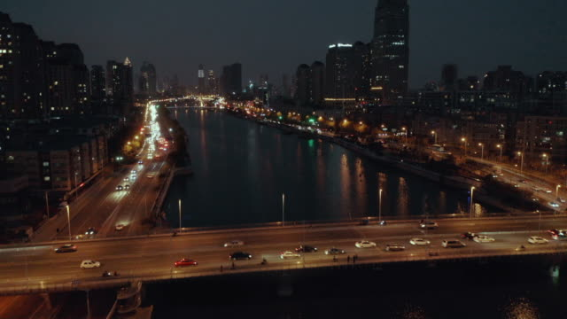 aerial view of bridge over river - hai river stock videos & royalty-free footage