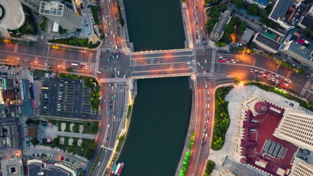 tl aerial view of bridge over the river - street light stock videos & royalty-free footage