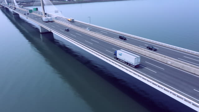 aerial view of bridge - motorway stock videos & royalty-free footage