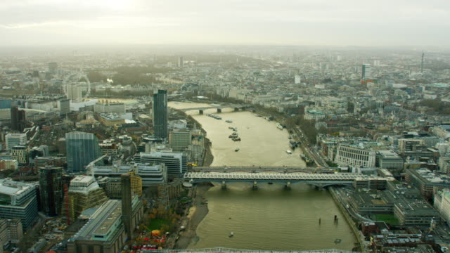 Aerial view of bridges spanning the River Thames