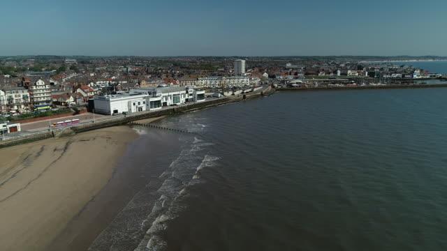 aerial view of bridlington beach - bridlington stock-videos und b-roll-filmmaterial
