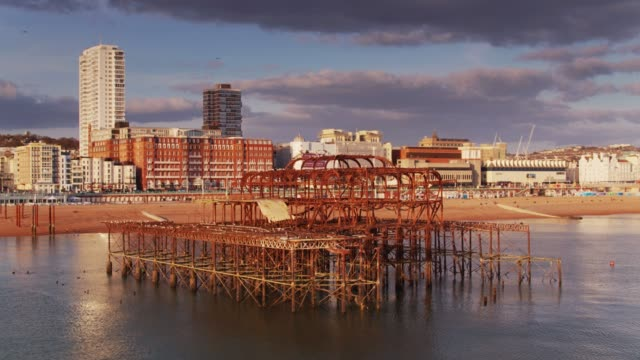 aerial view of brighton beach and west pier - 1975 stock videos & royalty-free footage