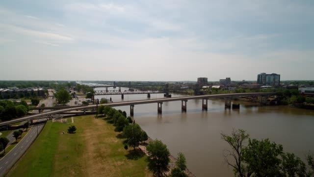 aerial view of broadway bridge near little rock arkansas - arkansas stock videos & royalty-free footage