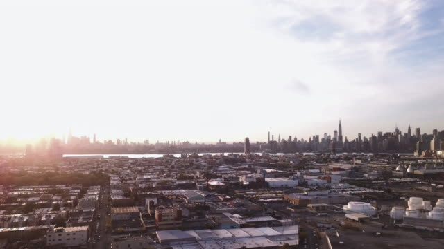 Aerial view of Brooklyn and New York City at sunset.