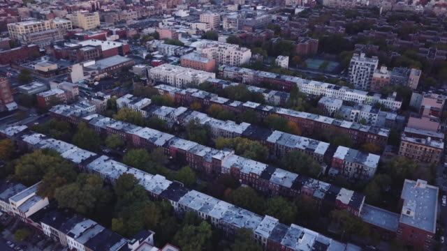 aerial view of brooklyn, new york at sunrise - 4k - brooklyn new york stock videos & royalty-free footage