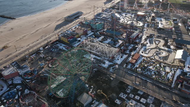 aerial view of brooklyn's coney island during the winter - local landmark stock videos & royalty-free footage