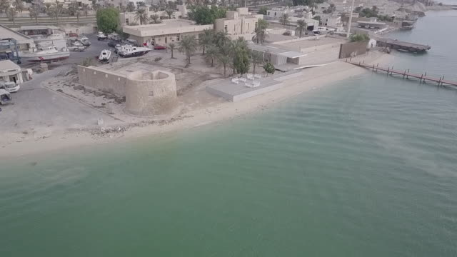 aerial view of bu maher fort. - persian gulf stock videos & royalty-free footage