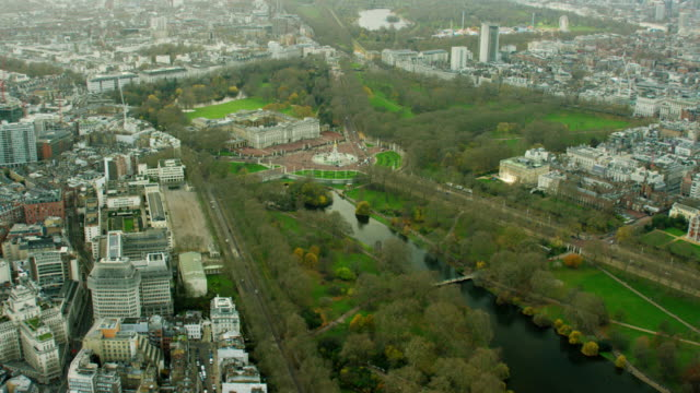 aerial view of buckingham palace and victoria memorial - victoria park london stock videos & royalty-free footage