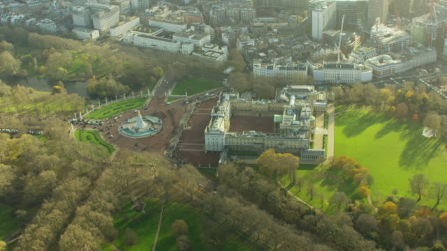 Aerial view of Buckingham Palace in Westminster London