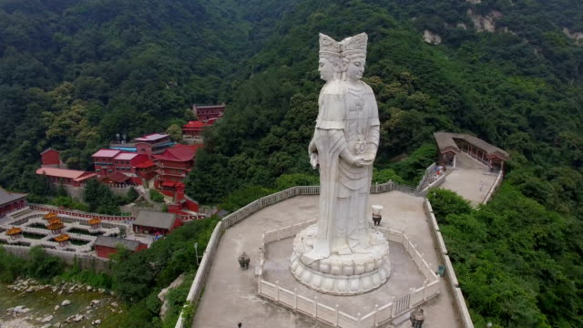 aerial view of  buddha statue in guanyin temple,xi'an,shaanxi,china. - statue stock videos & royalty-free footage