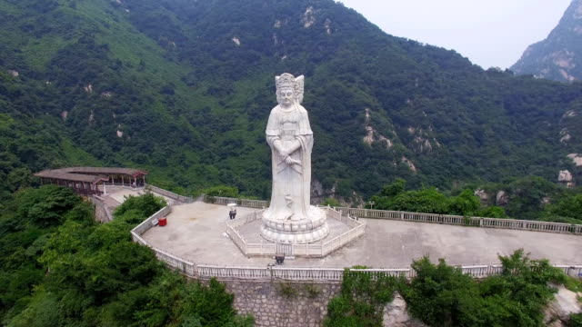 aerial view of  buddha statue in guanyin temple,xi'an,shaanxi,china. - guanyin bodhisattva stock videos & royalty-free footage