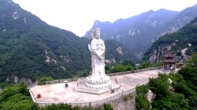 aerial view of  buddha statue in guanyin temple,xi'an,shaanxi,china. - tian tan buddha stock videos and b-roll footage