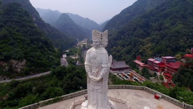 aerial view of  buddha statue in guanyin temple,xi'an,shaanxi,china. - railings stock videos & royalty-free footage