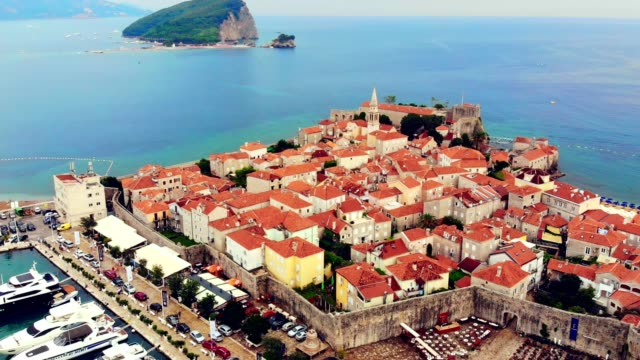 aerial view of budva - montenegro - mediterranean culture stock videos & royalty-free footage