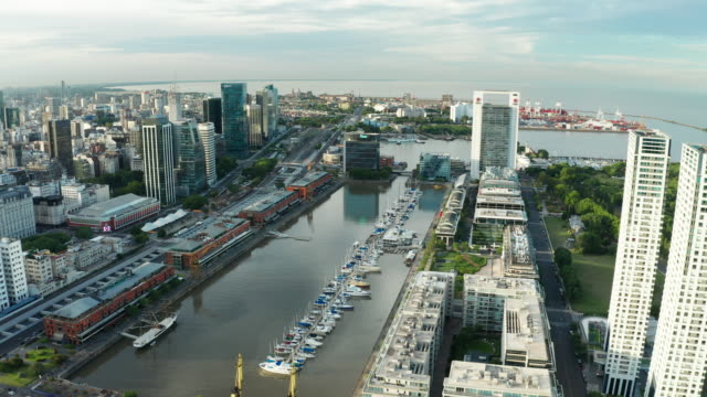 aerial view of buenos aires at sunset. puerto madero. argentina. - puerto madero stock videos & royalty-free footage