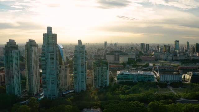 aerial view of buenos aires at sunset. puerto madero. argentina. - アルゼンチン点の映像素材/bロール