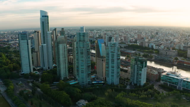 aerial view of buenos aires at sunset. puerto madero. argentina. - buenos aires stock videos & royalty-free footage