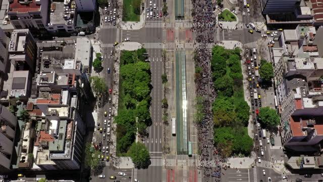 aerial view of buenos aires city center argentina - avenida 9 de julio stock videos & royalty-free footage