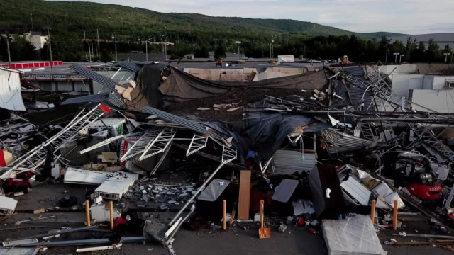 aerial view of building damage caused by a tornado in wilkes-barre township of pennsylvania - wilkes barre stock videos & royalty-free footage