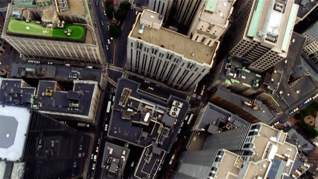 aerial view of building rooftops & park. boston, massachusetts. - boston stock videos and b-roll footage