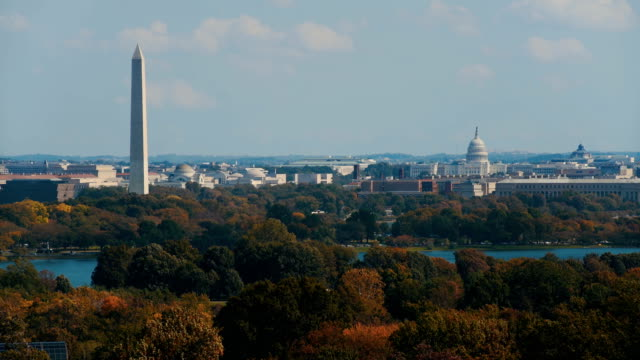 stockvideo's en b-roll-footage met aerial view of  buildings along the national mall, washington d.c, usa - monument