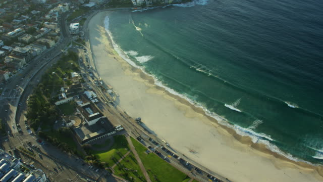 Aerial view of buildings and ocean Bondi Beach