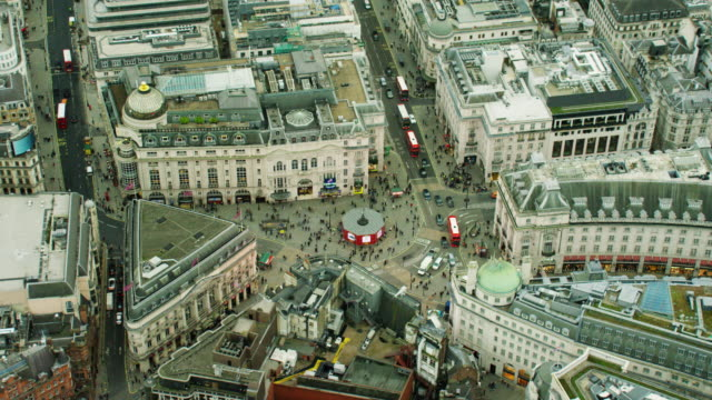 aerial view of buildings around piccadilly circus london - zoom in stock videos & royalty-free footage