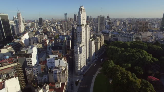 aerial view of buildings downtown buenos aires argentina - ブエノスアイレス点の映像素材/bロール